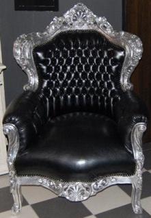 Casa Padrino Barock Sessel King Schwarz Silber Lederoptik Kaufen