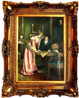 Casa Padrino Barock Öl Gemälde Gesellschafts Porträt Gold Prunk Rahmen 101 x H. 80 cm - Barockmöbel