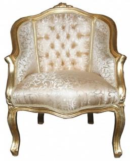 Casa Padrino Barock Damen Salon Sessel Gold Muster/ Gold - Möbel Antik Stil