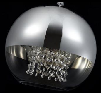 Casa Padrino Hängeleuchte Silber Ø 30 x H. 28 cm - Hängelampe mit rundem Lampenschirm und feinsten Kristall Behängen - Vorschau 5