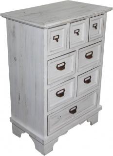 Casa Padrino Shabby Chic Landhaus Stil Kommode mit 8 Schubladen Antik Weiß B 64 cm, H 90 cm - Antik Kommode - Vorschau 2