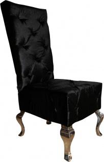 Casa Padrino Designer Esszimmerstuhl Schwarz / Silber - Luxus Qualität - Hochlehner Stuhl