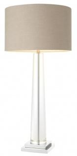 Casa Padrino Luxus Kristallglas Tischleuchte mit grauem Lampenschirm - Hotel Möbel
