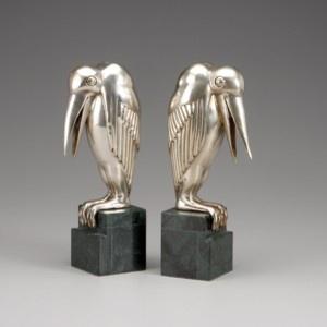 Casa Padrino Luxus Bücherstützen Maribou aus Bronze auf Marmorsockel