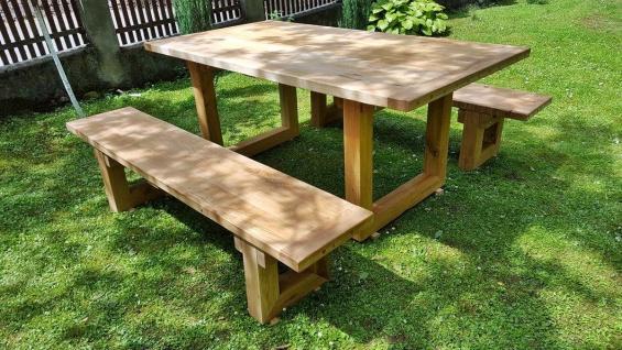Casa Padrino Gartenmöbel Set Rustikal - Tisch + 2 Garten Bänke (Länge: 200 cm) - Eiche Massivholz - Vorschau 3
