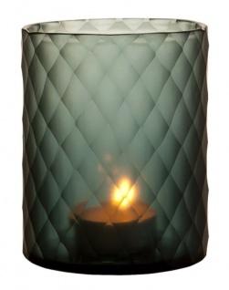 Casa Padrino Glas Teelichthalter / Windlicht Saphirfarben Ø 13 x H. 16 cm - Luxus Teelichthalter mit Diamantenschliff