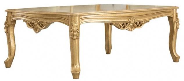 Casa Padrino Luxus Barock Massivholz Couchtisch Gold - Handgefertigter Wohnzimmertisch im Barockstil - Barock Wohnzimmer Möbel