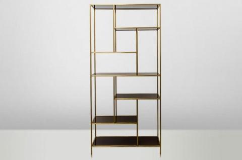 Casa Padrino Art Deco Luxus Regal Schrank Edelstahl Gold mit getönten Glasböden H210 x 98 x 35 cm - Bücherregal Regal Schrank - Jugendstil Möbel