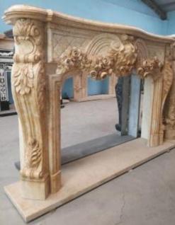 Casa Padrino Luxus Barock Kaminumrandung Beige 232 x 50 x H. 153 cm - Prunkvolle Kaminumrandung aus hochwertigem Marmor - Barock Möbel