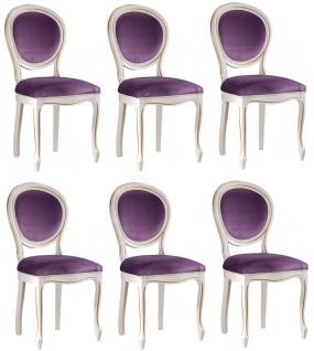 Casa Padrino Luxus Barock Esszimmer Set Weiß / Gold / Lila 47 x 42 x H. 98, 5 cm - 6 Esszimmerstühle - Barock Esszimmermöbel