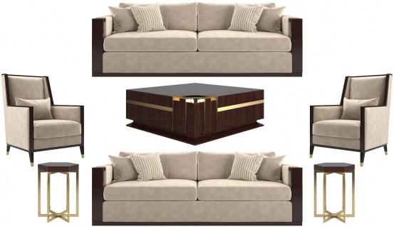 Casa Padrino Luxus Art Deco Wohnzimmer Set Beige / Dunkelbraun Hochglanz / Gold - 2 Sofas & 2 Sessel & 1 Couchtisch & 2 Beistelltische - Edle Wohnzimmer Möbel - Luxus Qualität