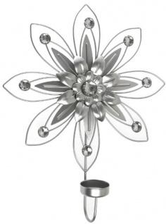 Casa Padrino Designer Wandkerzenhalter 4er Set Silber 26 x 6 x H. 32 cm - Dekorative Wanddeko