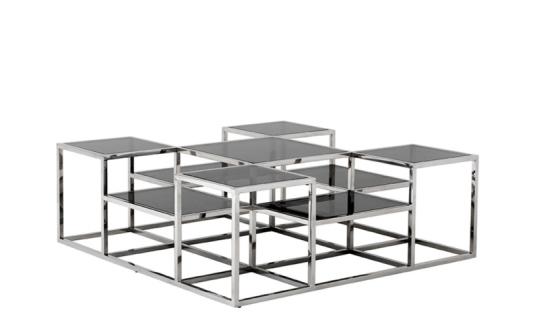 Casa Padrino Luxus Art Deco Designer Couchtisch mit Rauchglas - Wohnzimmer Salon Tisch - Luxus Kollektion