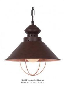 Casa Padrino Hängeleuchte Deckenleuchte Bronzefarben Industrial Design 34 cm Durchmesser - Industrie Lampe Leuchte Industrieleuchte