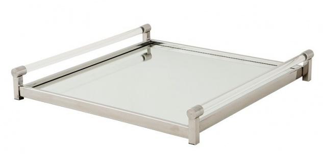 Casa Padrino Luxus Tablett Rechteckig Massiv Spiegel Oberfläche Glasgriffe Edelstahl Massiv vernickelt 50 x 50 cm - Luxury Collection - 5 Sterne Gastronomie Einrichtung