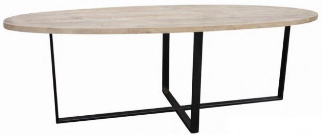Casa Padrino Luxus Massivholz Esstisch Naturfarben / Schwarz 280 x 90 x H. 78 cm - Ovaler Küchentisch mit Eichenholz Tischplatte und Metallgestell - Esszimmmer Möbel