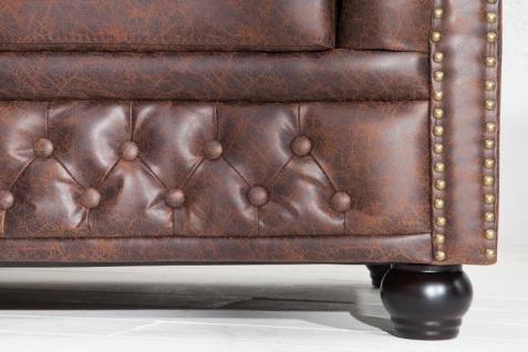 Chesterfield 3er Sofa Antikbraun aus dem Hause Casa Padrino - Wohnzimmer Couch Antik Braun - Vorschau 5