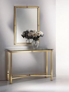 Casa Padrino Luxus Spiegelkonsole Messingfarben - 1 Konsolentisch mit Glasplatte & 1 Wandspiegel - Luxus Möbel