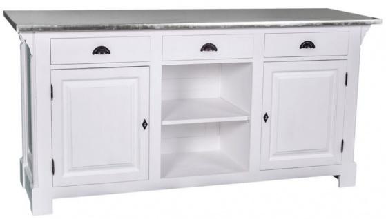 Casa Padrino Landhausstil Theke Weiß / Silber 191 x 68 x H. 95 cm - Massivholz Thekentisch mit verzinkter Tischplatte
