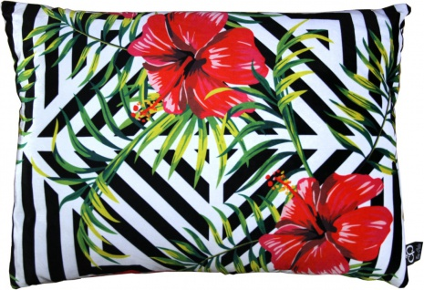 Casa Padrino Luxus Deko Kissen Pittsburgh Flowers Mehrfarbig 35 x 55 cm - Feinster Samtstoff - Wohnzimmer Kissen