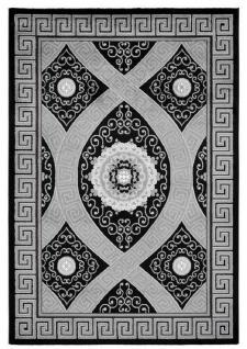Casa Padrino Wohnzimmer Teppich Schwarz / Silber - Verschiedene Größen - Deko Accessoires