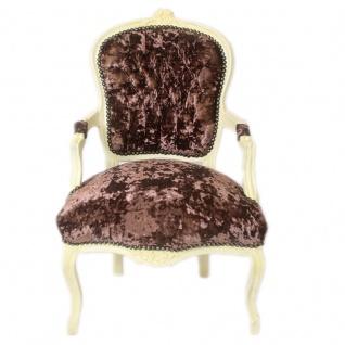 Casa Padrino Barock Salon Stuhl Braun Velour Stoff / Creme - Antik Design Möbel