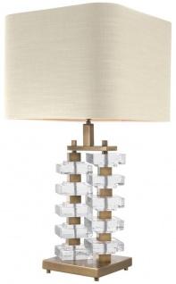 Casa Padrino Tischleuchte mit naturfarbenem Lampenschirm 27 x 40 x H. 77 cm - Luxus Hotel & Restaurant Möbel - Vorschau 3