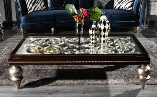 Casa Padrino Luxus Barock Couchtisch Dunkelbraun / Antik Silber 167 x 92 x H. 48 cm - Prunkvoller Massivholz Wohnzimmertisch mit Glasplatte - Luxus Qualität