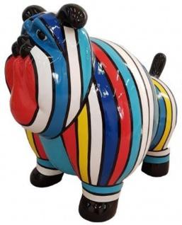 Casa Padrino Designer Dekofigur Alter Hund Mehrfarbig Gestreift 75 x H. 63 cm - Wetterbeständige Deko Skulptur - Wohnzimmer Deko - Garten Deko - Designer Deko Tierfigur