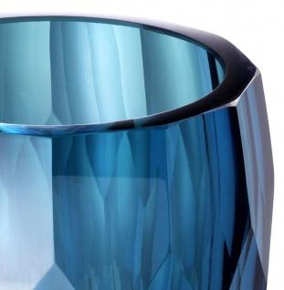 Casa Padrino Luxus Deko Glas Vase Blau Ø 12 x H. 14 cm - Luxus Qualität - Vorschau 3