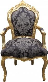Casa Padrino Barock Esszimmer Stuhl Schwarz Muster /Gold mit Armlehnen - Limited Edition