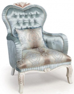 Casa Padrino Luxus Barock Wohnzimmer Sessel mit dekorativem Kissen Türkis / Creme / Bronze 72 x 76 x H. 110 cm - Wohnzimmermöbel im Barockstil