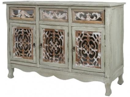 Casa Padrino Landhausstil Kommode mit 3 Türen und 3 Schubladen Antik Grau / Antik Braun 120 x 40 x H. 79 cm - Handgefertigte Anrichte im Landhausstil