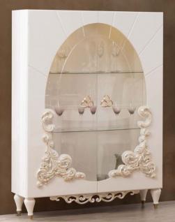 Casa Padrino Luxus Barock Vitrine Weiß / Gold 116 x 46 x H. 170 cm - Beleuchteter Massivholz Vitrinenschrank mit 2 Glastüren - Edle Barock Möbel