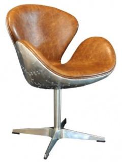Casa Padrino Luxus Echtleder Bürostuhl Braun / Silber 72 x 63 x H. 91 cm - Designer Büromöbel