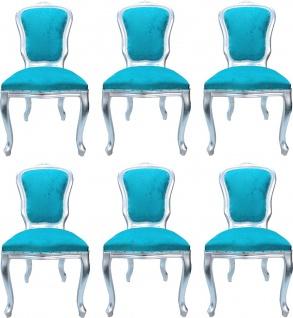 Casa Padrino Luxus Barock Esszimmer Set Louis Türkis / Silber 50 x 60 x H. 104 cm - 6 handgefertigte Esszimmerstühle - Barock Esszimmermöbel - Made in Italy