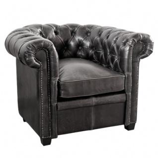 Casa Padrino Chesterfield Echtleder Sessel Schwarz aus Massivholz - Luxus Wohnzimmermöbel