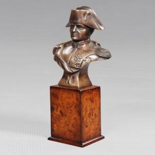 Casa Padrino Luxus Bronzefigur Napoleon auf Holzsockel - Bronze Figur Büste - Frankreich - Briefbeschwerer