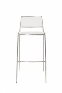 Casa Padrino Luxus Designer Barstuhl Weiß mit Rückenlehne, Barhocker, gepolstert - Barhocker - Vorschau 3