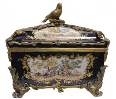 Casa Padrino Barock Schmuckkasten mit Deckel Mehrfarbig / Antik Messingfarben 37 x H. 34, 5 cm - Porzellan Deko im Barockstil
