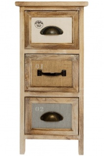 Casa Padrino Landhausstil Kommode mit 3 Schubladen Naturfarben / Mehrfarbig 25 x 25 x H. 58 cm - Landhausstil Möbel