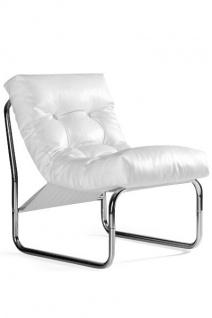 Designer Salon Stuhl Weiß Lederoptik, sehr komfortabler Sitz, moderner Wohnzimmerstuhl