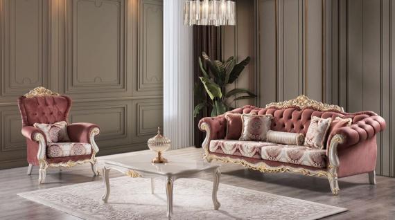 Casa Padrino Luxus Barock Wohnzimmer Set Rot / Weiß / Gold - 2 Sofas & 2 Sessel & 1 Couchtisch - Prunkvolle Barock Wohnzimmer Möbel
