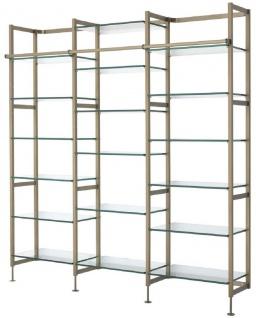 Casa Padrino Luxus Regalschrank Messingfarben 222, 5 x 51 x H. 238 cm - Edelstahl Schrankwand mit 18 verstellbaren Glasregalen - Wohnzimmerschrank - Büroschrank - Luxus Möbel - Vorschau 2