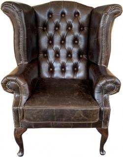 Casa Padrino Echtleder Sessel Vintage Braun - Luxus Wohnzimmer Ohrensessel Möbel - Vorschau