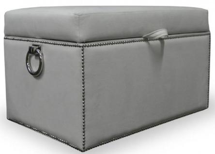 Casa Padrino Luxus Truhe mit Sitzfläche und runden Tragegriffen 97 x 50 x H. 48 cm - Verschiedene Farben - Gepolsterte klappbare Sitzbank - Truhenbank - Luxus Qualität