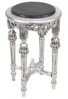 Casa Padrino Barock Beistelltisch mit schwarzer Marmorplatte Rund Silber 50 x 35 cm Antik Stil - Telefon Blumen Tisch