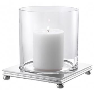 Casa Padrino Luxus Kerzenleuchter Silber 17 x 17 x H. 17, 5 cm - Moderner Kerzenleuchter mit rundem Glas und quadratischem Metall Sockel - Luxus Accessoires