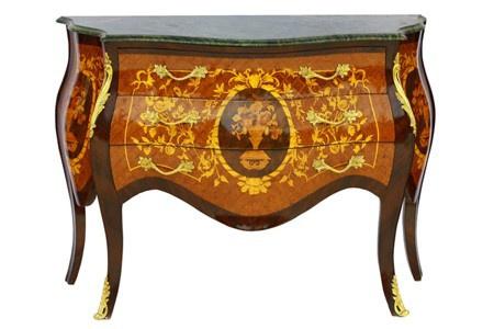 Casa Padrino Barock Kommode mit Marmorplatte Mahagonie Braun mit goldenen Metallapplikationen 121 cm - Hotel Collection