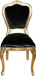 Casa Padrino Barock Luxus Damen Stuhl Schwarz / Gold - Damen Schminktisch Stuhl - Limited Edition